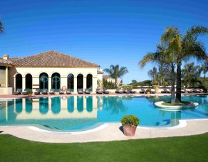 Outdoor view of Pool area, palm tres, sun beds, blue water
