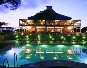 Hotel pool evening