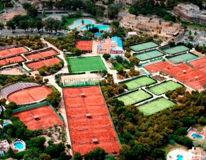 Tennis court aerial view