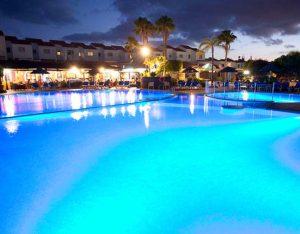 Apartments pool evening